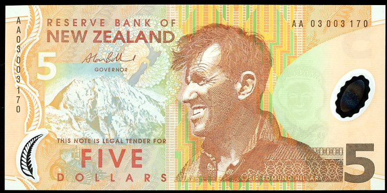 Thumbnail for 2003 New Zealand $5 Banknote First Prefix AA03 003170 UNC