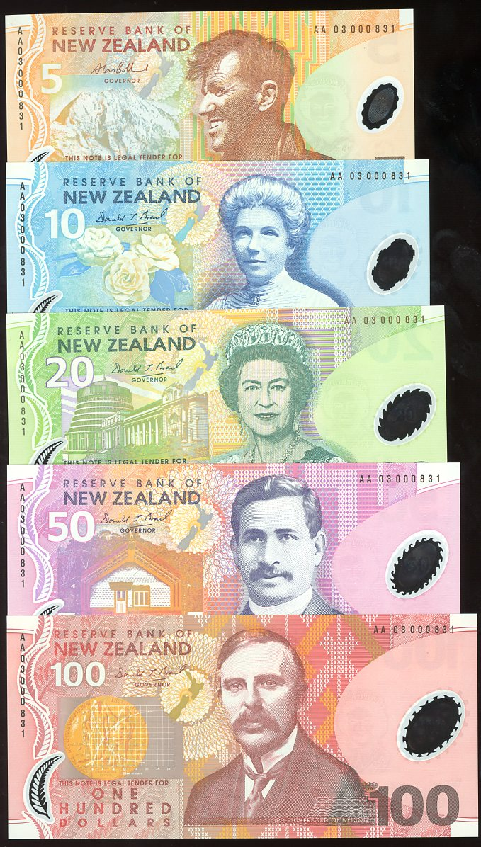 Thumbnail for 2003 New Zealand Set of 5 First Prefix Notes with Matching Serial Numbers AA03 000831 UNC