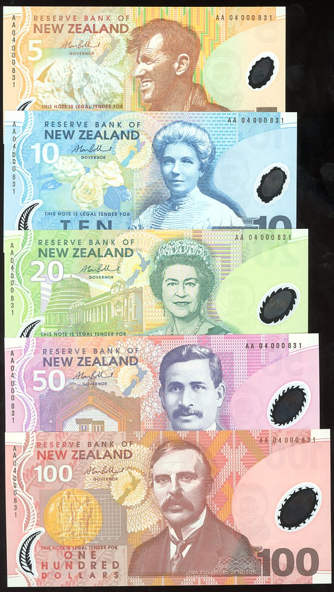 Thumbnail for 2004 New Zealand Set of 5 First Prefix Notes with Matching Serial Numbers AA04 000831 UNC
