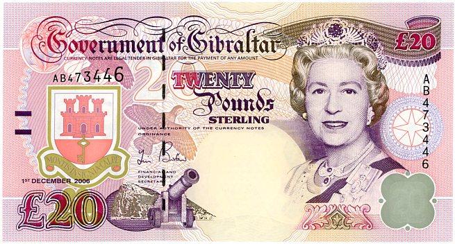 Thumbnail for 2006 Gibraltar Twenty Pound Note AB 473446 UNC