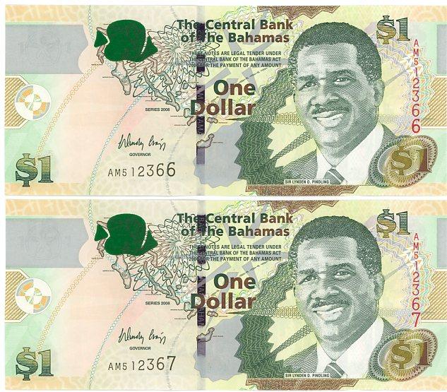 Thumbnail for 2008 Bahamas Consecutive Pair One Dollar Note UNC AM 512366-67
