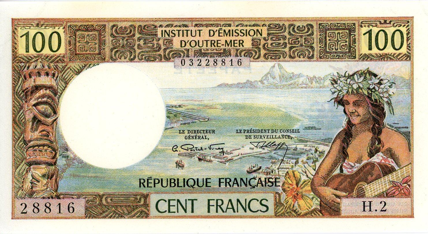 Thumbnail for 1970's Tahiti 100 cent Francs aUNC