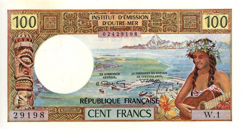 Thumbnail for 1970's Tahiti 100 cent Franc EF