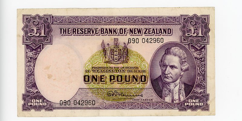 Thumbnail for 1960's New Zealand One Pound 090 042960 VF
