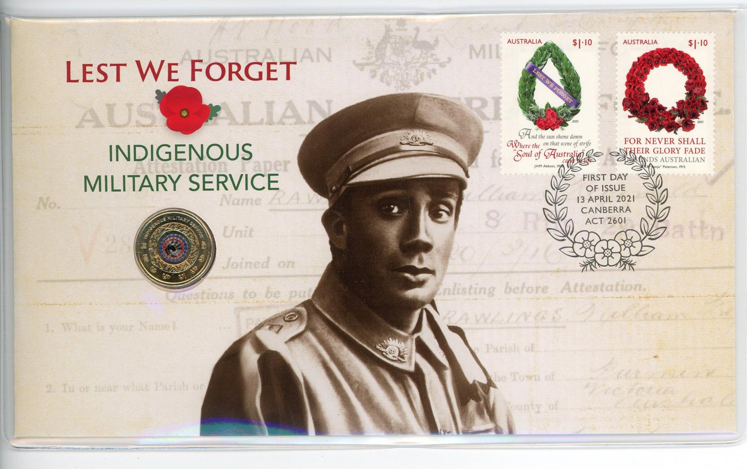 Thumbnail for 2021 Issue 20 $2 Indigenous Military Service - Lest We Forget RAM coloured coin PNC (Limited to 7500)