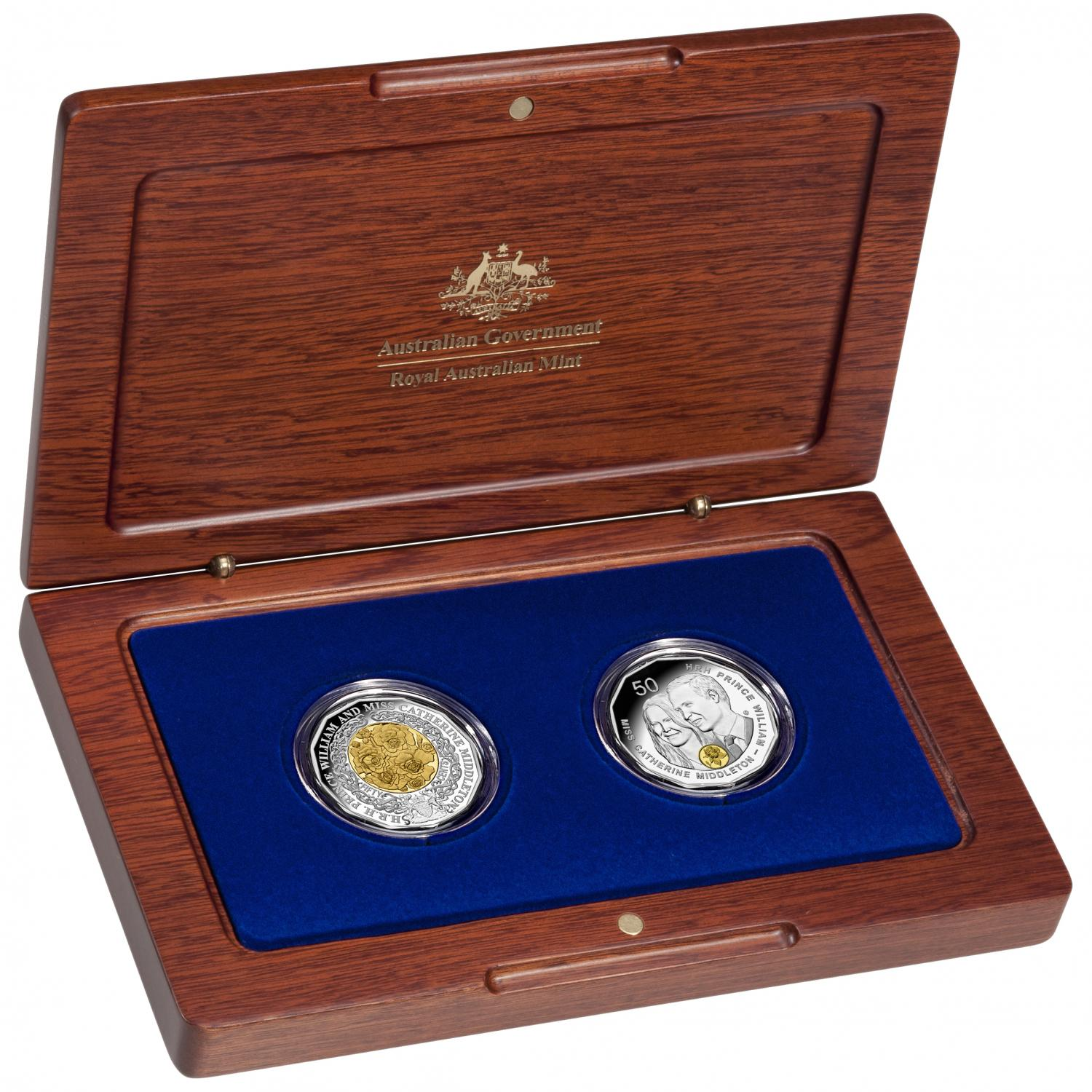 Thumbnail for 2011 Royal Wedding Two Coin Selectively Gold Plated Silver Proof Set