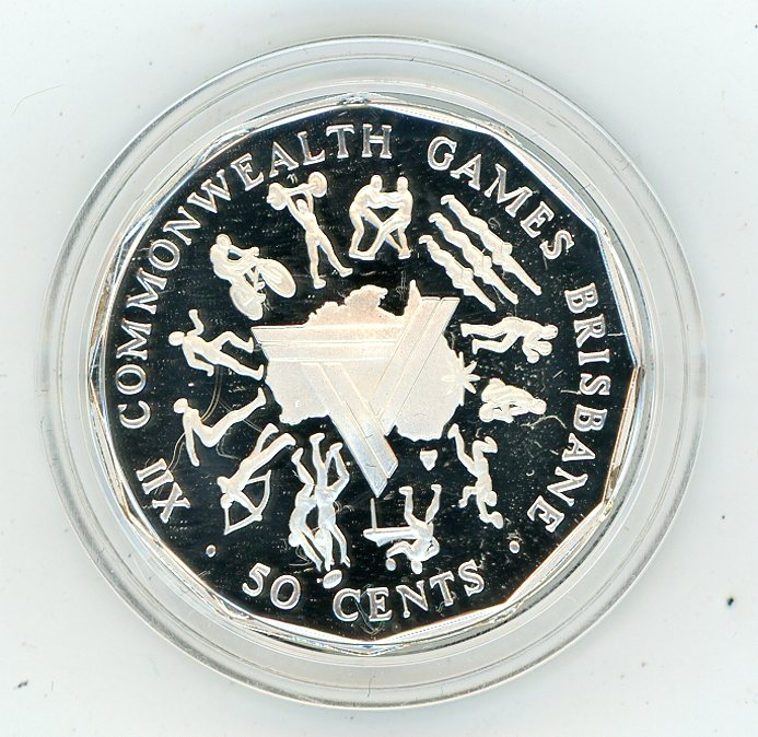 Thumbnail for 1989 Silver Proof Fifty Cents In Capsule - 1982 Commonwealth Games Design