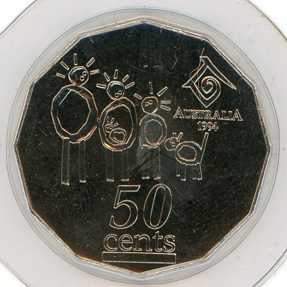 Thumbnail for 1994 Uncirculated Year of the Family Fifty Cent Coin in Capsule