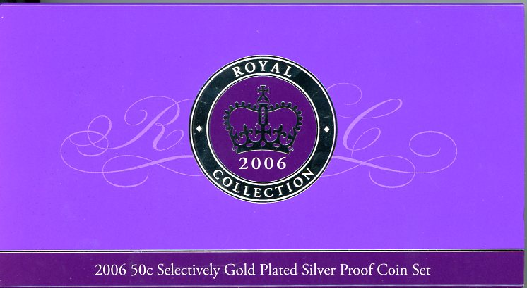 Thumbnail for 2006 Selectively Gold Plated Fifty Cent 2 Coin Proof Set