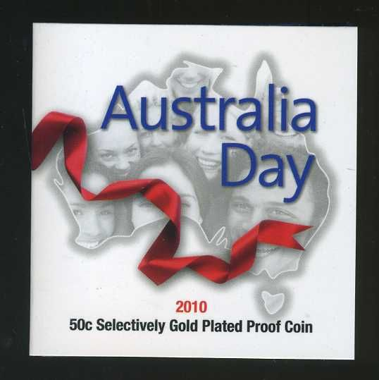 Thumbnail for 2010 Australia Day Fifty Cent Selectively Gold Plated Silver Proof