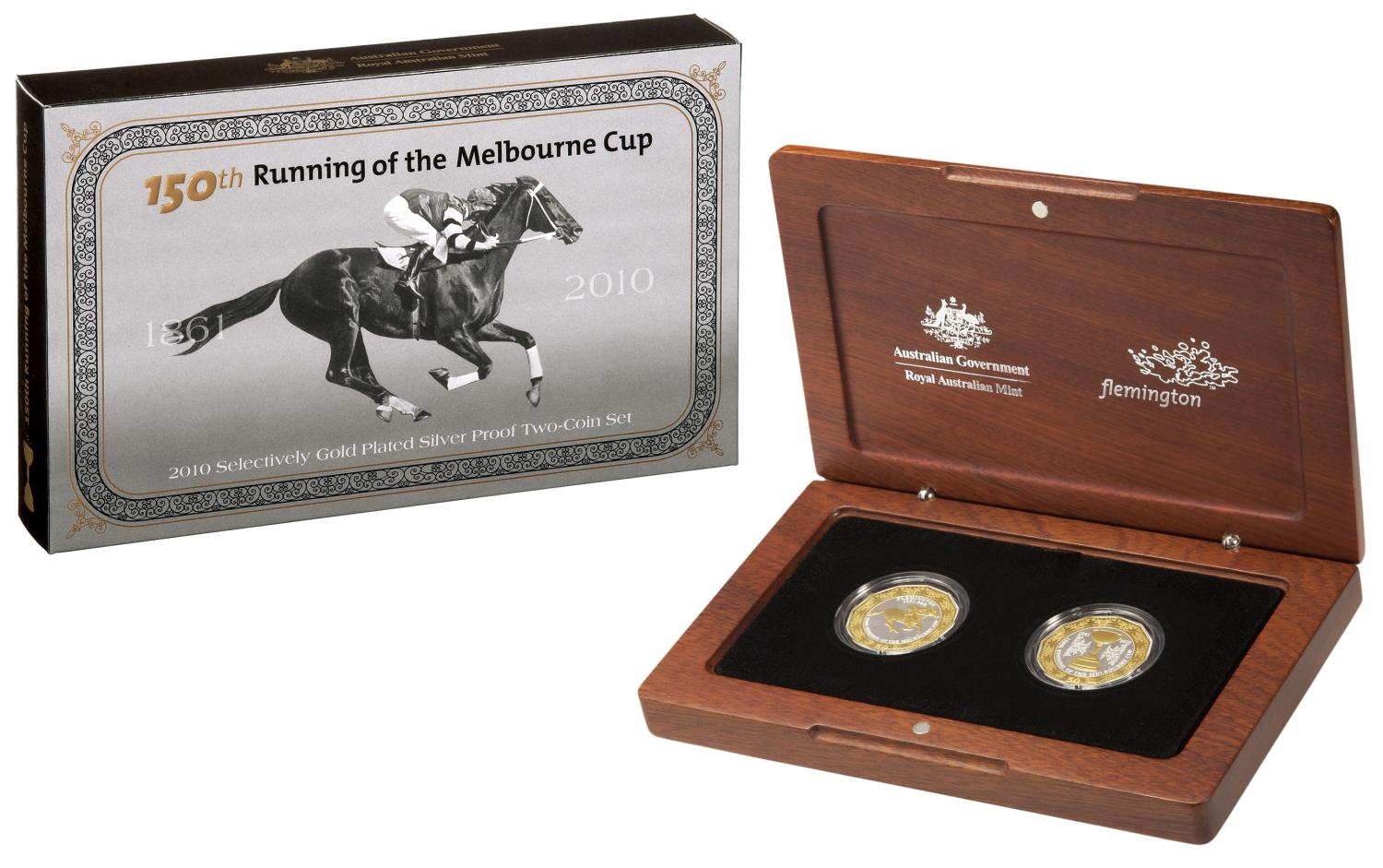 Thumbnail for 2010 150th Running of the Melbourne Cup Gold Plated Silver Two Coin Proof Set