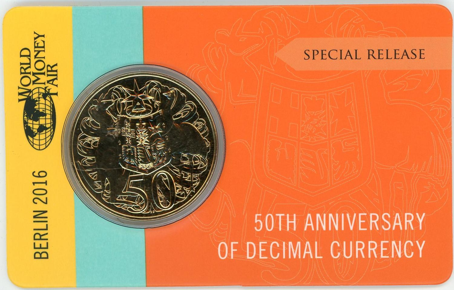 Thumbnail for 2016 50th Anniversary of Decimal Currency Gold Plated 50c - Berlin Money Fair