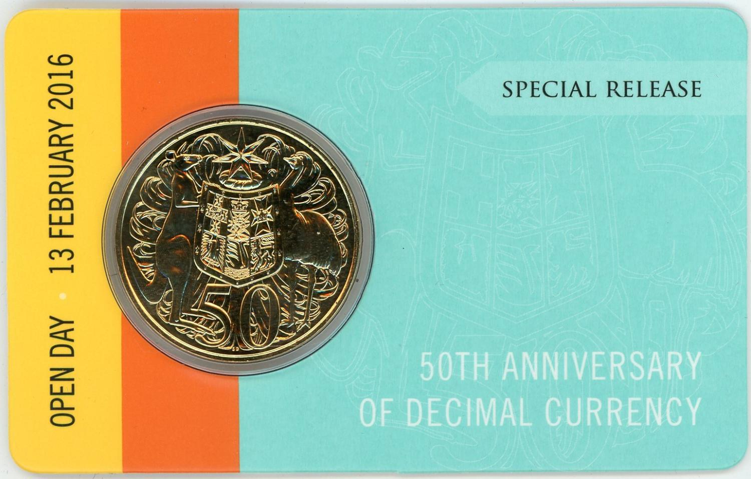 Thumbnail for 2016 50th Anniversary of Decimal Currency Gold Plated 50c - Open Day