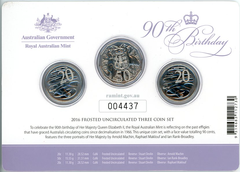Thumbnail for 2016 Frosted UNC 3 Coin Set - Her Majesty The Queen 90th Birthday