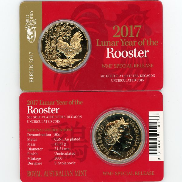 Thumbnail for 2017 Lunar Year of the Rooster Gold Plated Berlin Fair Issue