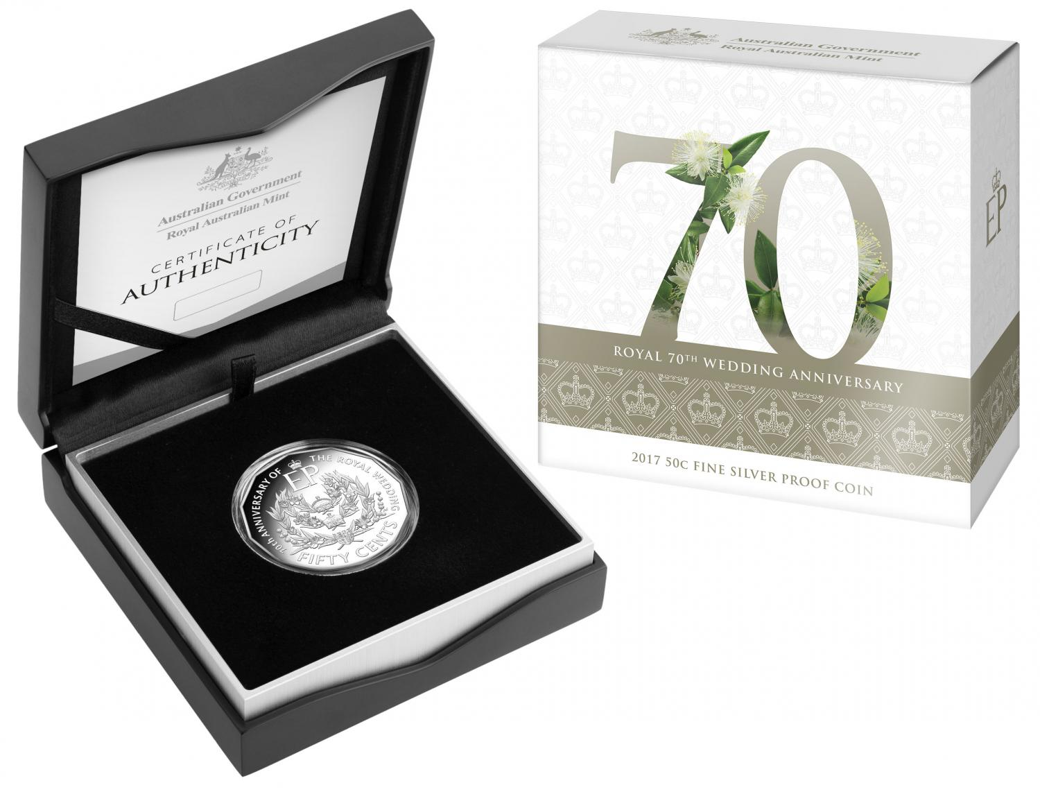 Thumbnail for 2017 Fifty Cent Proof - Queen Elizabeth II 70th Wedding Anniversary