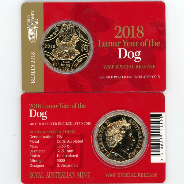 Thumbnail for 2018 Lunar Year of the Dog Gold Plated Berlin Fair Issue