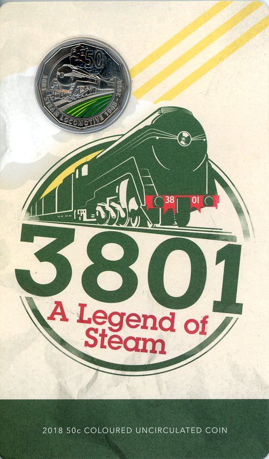 Thumbnail for 2018   3801 A Legend of Steam Coloured 50c