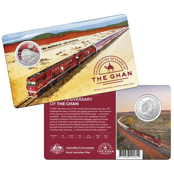 Thumbnail for 2019 50c Coloured Uncirculated Coin - 90th Anniversary of the Ghan