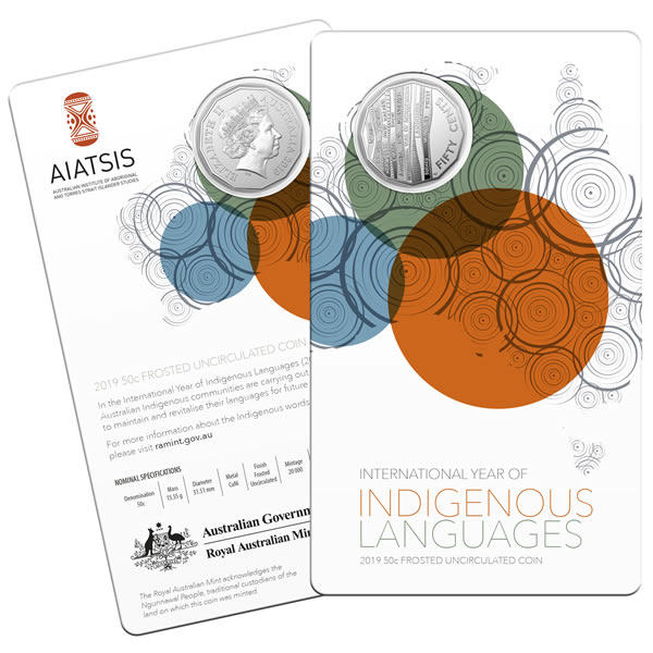 Thumbnail for 2019 International Year of Indigenous Language 50 Cent Frosted Coin