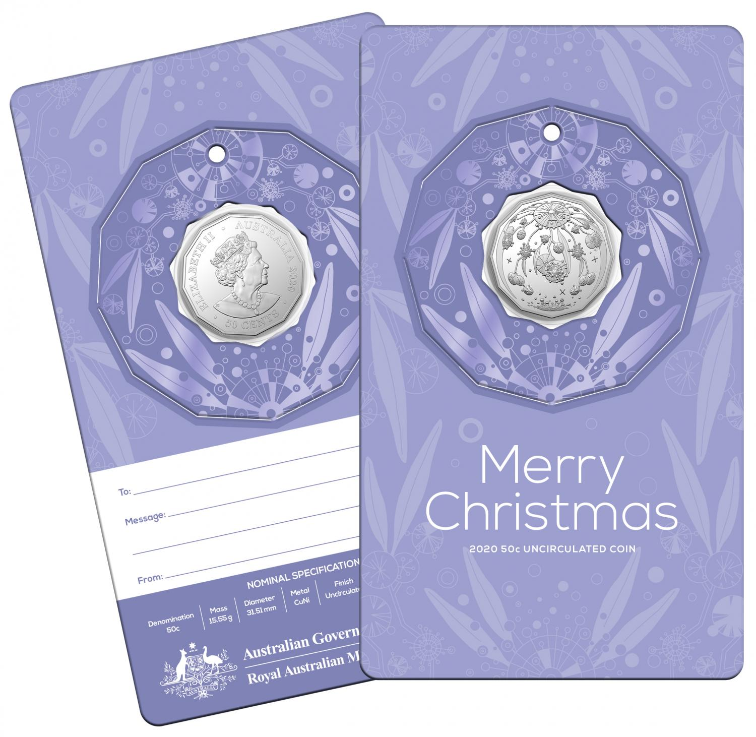 Thumbnail for 2020 Christmas .50c UNC Coin - Purple Card Decoration