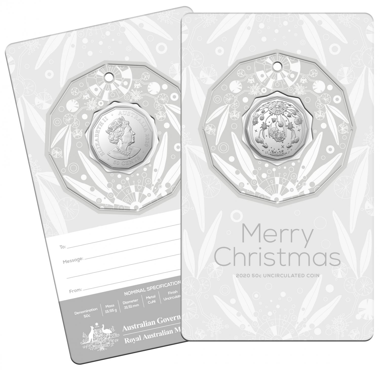 Thumbnail for 2020 Christmas .50c UNC Coin - Silver Card Decoration