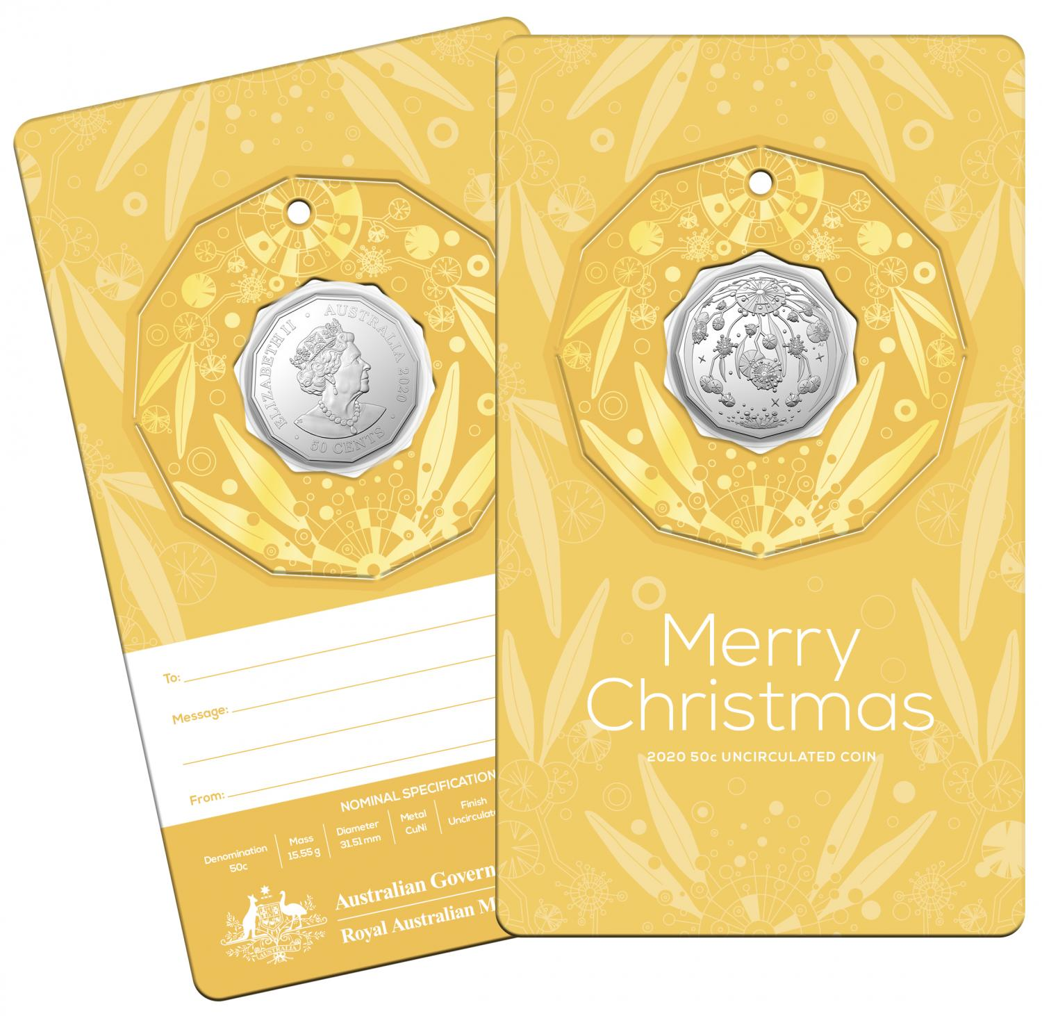 Thumbnail for 2020 Christmas .50c UNC Coin - Yellow Card Decoration