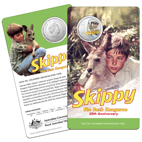 Thumbnail for 2020 Coloured Fifty Cent Coin - Skippy the Bush Kangaroo
