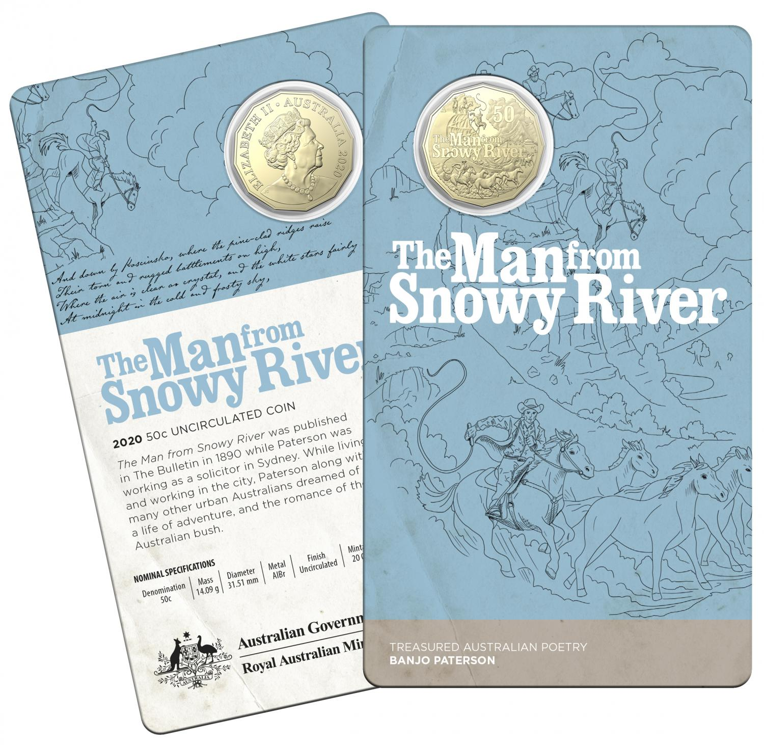 Thumbnail for 2020 50c Uncirculated Coin Treasured Australian Poetry Banjo Paterson - The Man From Snowy River