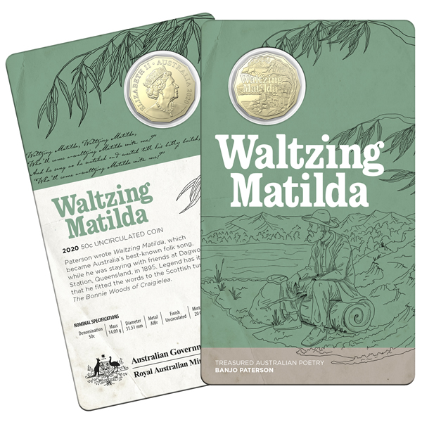 Thumbnail for 2020 50c Uncirculated Coin Treasured Australian Poetry Banjo Paterson - Waltzing Matilda