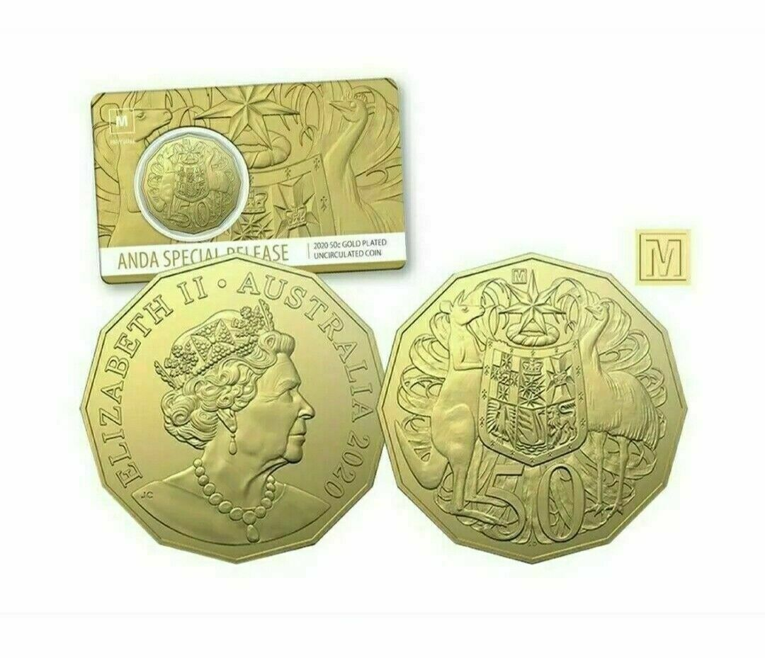 Thumbnail for 2020 ANDA Gold Plated Fifty Cent with M Privy Mark - Melbourne Money Expo