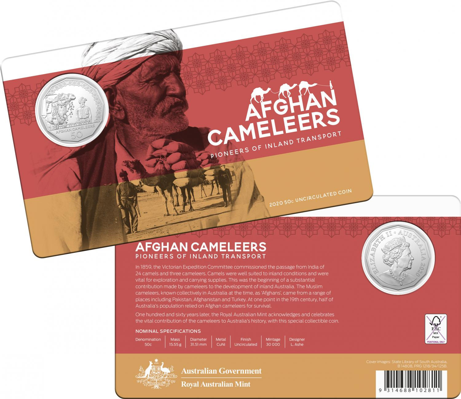 Thumbnail for 2020 Afghan Cameleers Uncirculated Fifty Cent Coin