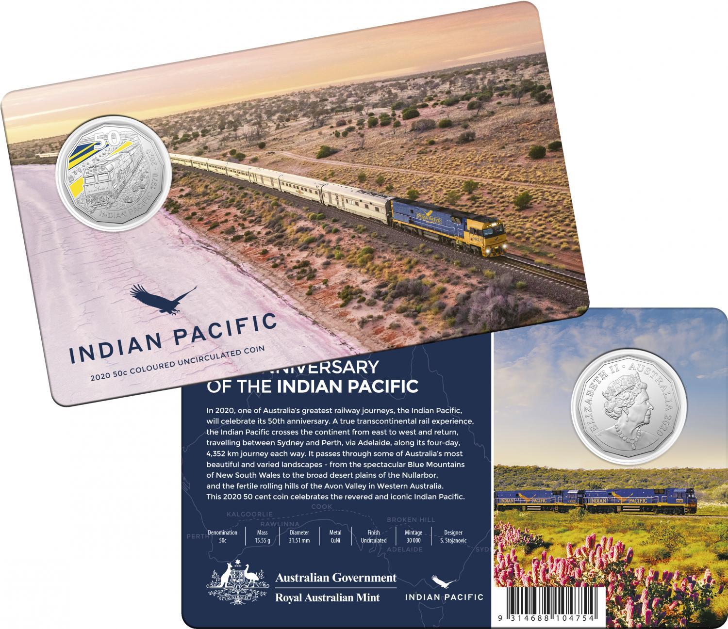 Thumbnail for 2020 Coloured Fifty Cent Coin - Indian Pacific