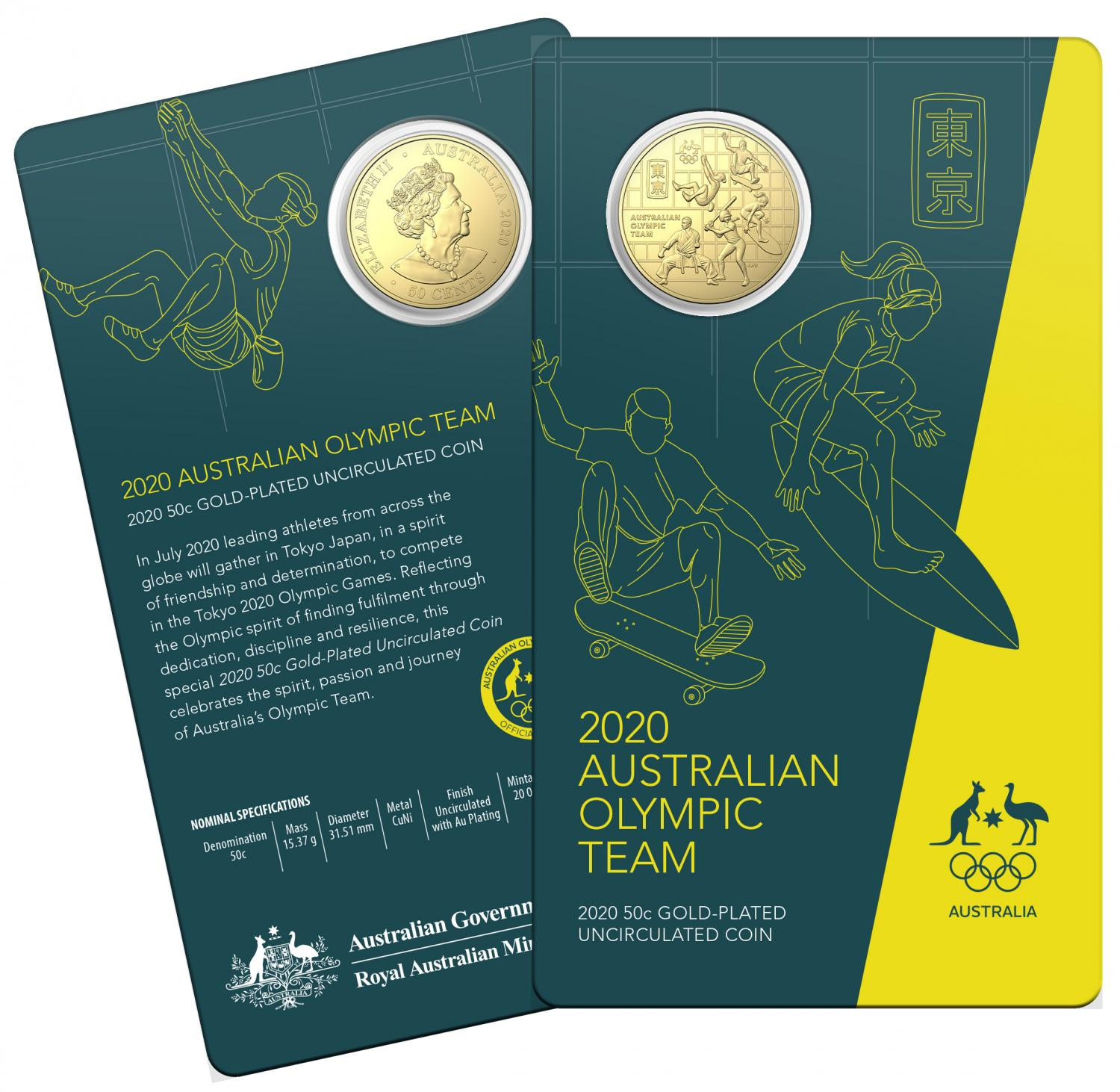 Thumbnail for 2020 Australian Olympic Team Gold Plated Fifty Cent Uncirculated Coin