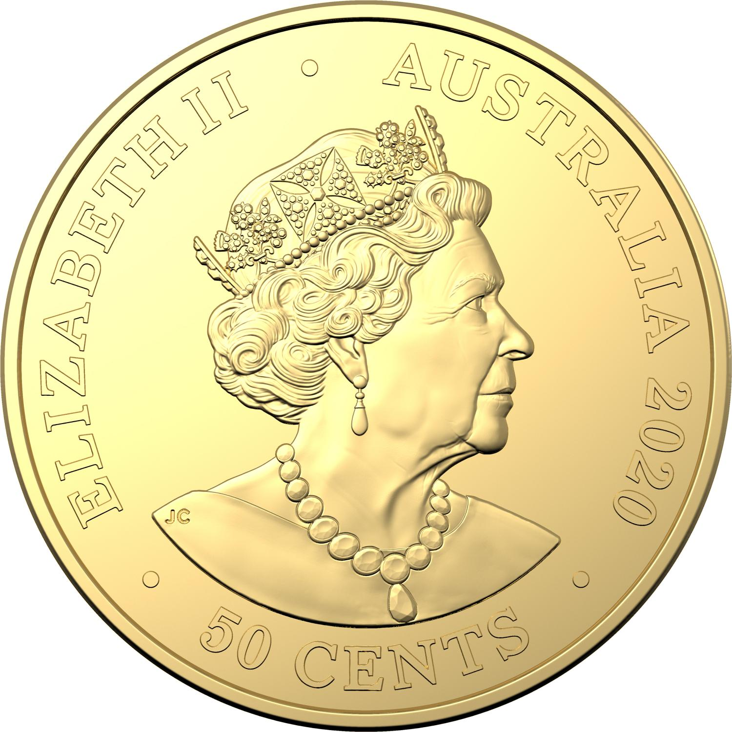 gold 50 cent coin