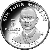 Image 2 for 2018 Sir John Monash Silver $5.00 Proof Coin