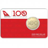 Image 1 for 2020  QANTAS Centenary - Celebrating 100 Years $1 AlBr UNC Coin on DCPL Card