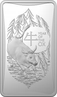 Image 1 for 2021 Lunar Year of the Ox $1 Half oz Silver Frosted UNC INGOT in Box