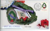 Image 1 for 2021 Lest We Forget Medallic Stamp & Medallion Aust Post Cover