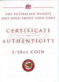 Image 3 for 2003 Australian Nugget One Tenth oz Gold Proof Coin - Kangaroo