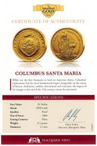 Image 3 for 2006 Palau 0.5 .999 Gram One Dollar - Columbus Santa Maria
