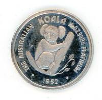 Image 2 for 1992 One Twentieth oz Proof Platinum Koala in Blue Wallet with Certificate