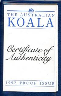 Image 3 for 1992 One Twentieth oz Proof Platinum Koala in Blue Wallet with Certificate