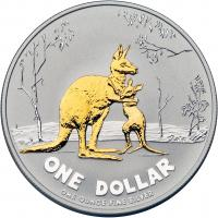 Image 2 for 2007 Selectively Gold Plated 1oz Silver Proof Kangaroo Rolf Harris Design