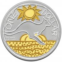 Image 2 for 2009 Selectively Gold Plated 1oz Silver Proof Kangaroo Ken Done Design