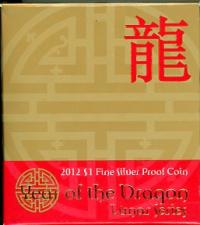 Image 1 for 2012 Lunar Series - Year of the Dragon $1 Silver Proof Coin
