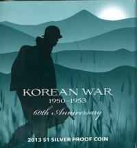 Image 1 for 2013 $1 Silver Proof Coin - 60th Anniversary Korean War