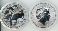 Image 1 for 2019 One Ounce Silver $1 Coin Mob of Roos Singapore Privy Mark