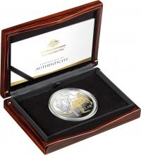 Image 1 for 2020 -  $1  5oz Gold Plated Silver Proof Coin - Icons of Australia - Mob of Roos