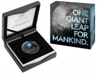 Image 1 for 2019 $5.00 Nickel Plated Coloured Silver Proof Domed Coin - 50th Anniversary of the Lunar Landing
